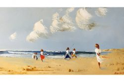 """""""Day at the Seaside"""" 35x70cm Oil on Canvas"""