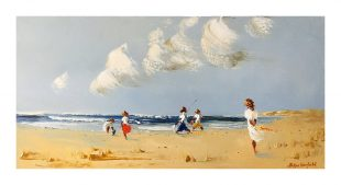 """Day at the Seaside"" 35x70cm Oil on Canvas"
