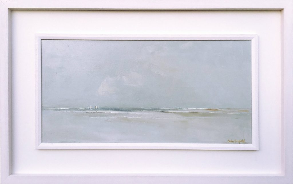 Sails on the Horizon, 35x70cm Oil on Canvas